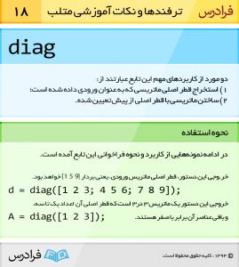 تابع diag قطر اصلی ماتریسی که به عنوان ورودی داده شده است ایتخراج می کند
