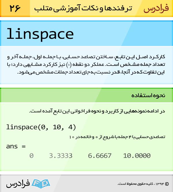 کارکرد اصل تابع linspace، ساختن تصاعد حسابی، با جمله اول، جمله آخر و تعداد جمله مشخص است. عملگر دونقطه (:) نیز کارکرد مشابهی دارد؛ با این تفاوت که در آنجا، قدر نسبت به جای تعداد جملات مشخص می شود.