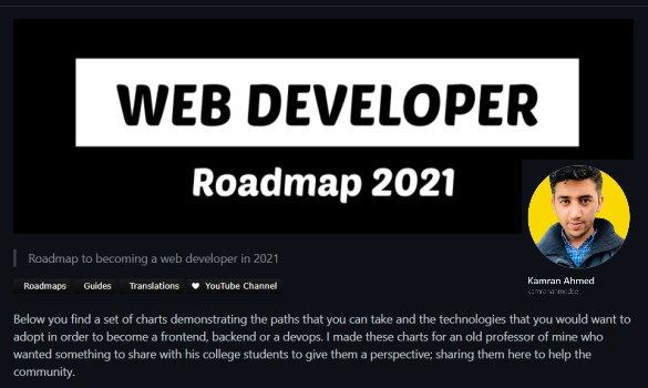 نصویری از مخزن گیت هاب نقشه راه توسعه دهنده وب به عنوان یکی از ۶ مخزن گیت هاب مفید برای برنامه نویسان وب
