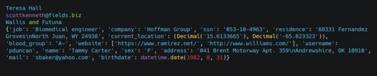 تصویر خروجی مثال استفاده از پکیج Faker در پایتون برای مقاله ۱۰ برنامه جالب پایتون به همراه کد آنها