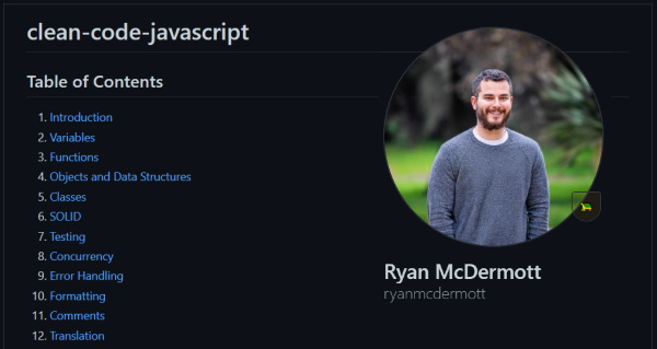 نصویری از مخزن گیت هاب کد شفاف جاوا اسکریپت یا همان Clean JavaScript Code به عنوان یکی از ۶ مخزن گیت هاب مفید برای برنامه نویسان وب