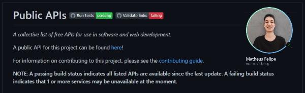 نصویری از مخزن گیت هاب APIهای عمومی یا همان Public APIs به عنوان یکی از ۶ مخزن گیت هاب مفید برای برنامه نویسان وب