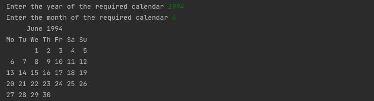 تصویر خروجی مثال استفاده از پکیج Calendar در پایتون برای مقاله ۱۰ برنامه جالب پایتون به همراه کد آنها
