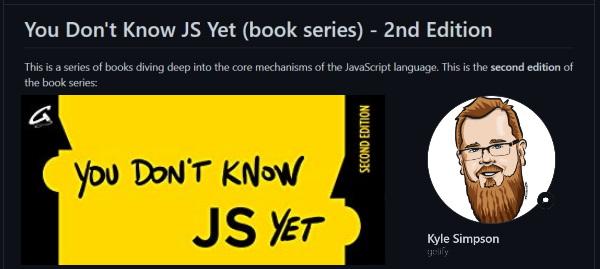 نصویری از مخزن گیت هاب You Don't Know JS Yet به عنوان یکی از ۶ مخزن گیت هاب مفید برای برنامه نویسان وب