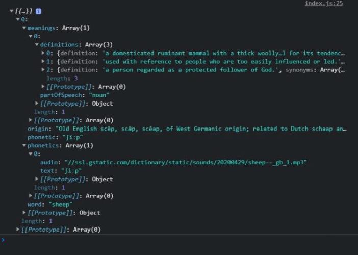 تصویر صفحه نمایش از کدهای مربوط به ساختار پاسخ API در آموزش ساخت یک اپلیکیشن دیکشنری ساده با جاوا اسکریپت
