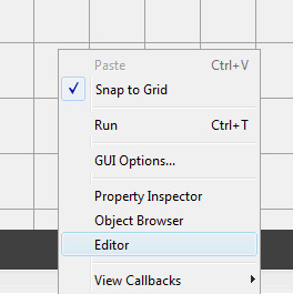 باز کردن ویرایشگر برای تغییر کدها و تعیین عملکرد دکمه ها در آموزش ایجاد رابط گرافیکی ساده در متلب